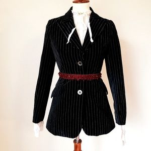 Vtg gothic black velour pin strip blazer small